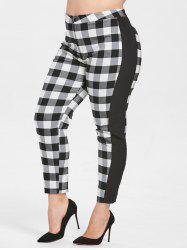 Plus Size Fitted Tartan Pants -