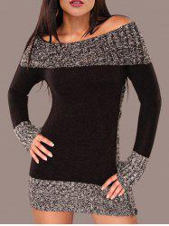 Color Block Boat Neck Knitted Dress -