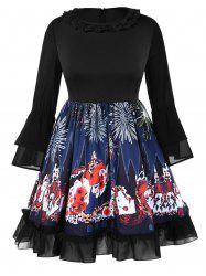 Plus Size Bell Sleeves Graphic Knee Length Halloween Dress -