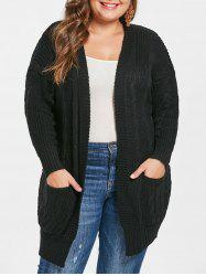 Plus Size Cable Knit Cardigan with Open Front -