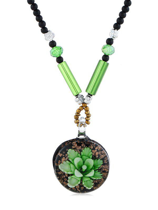 Unique Ethnic Floral Printed Beaded Necklace