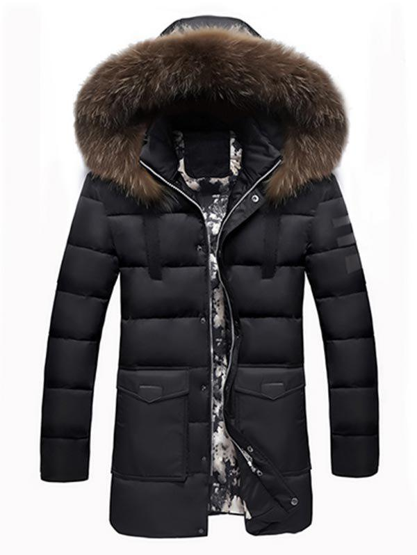 Latest Faux Fur Padded Hooded Longline Coat