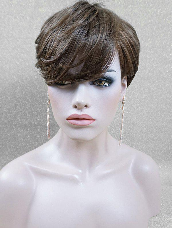 Affordable Layered Side Fringe Short Straight Human Hair Wig