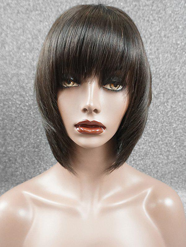 Trendy Full Fringe Straight Short Bob Human Hair Wig