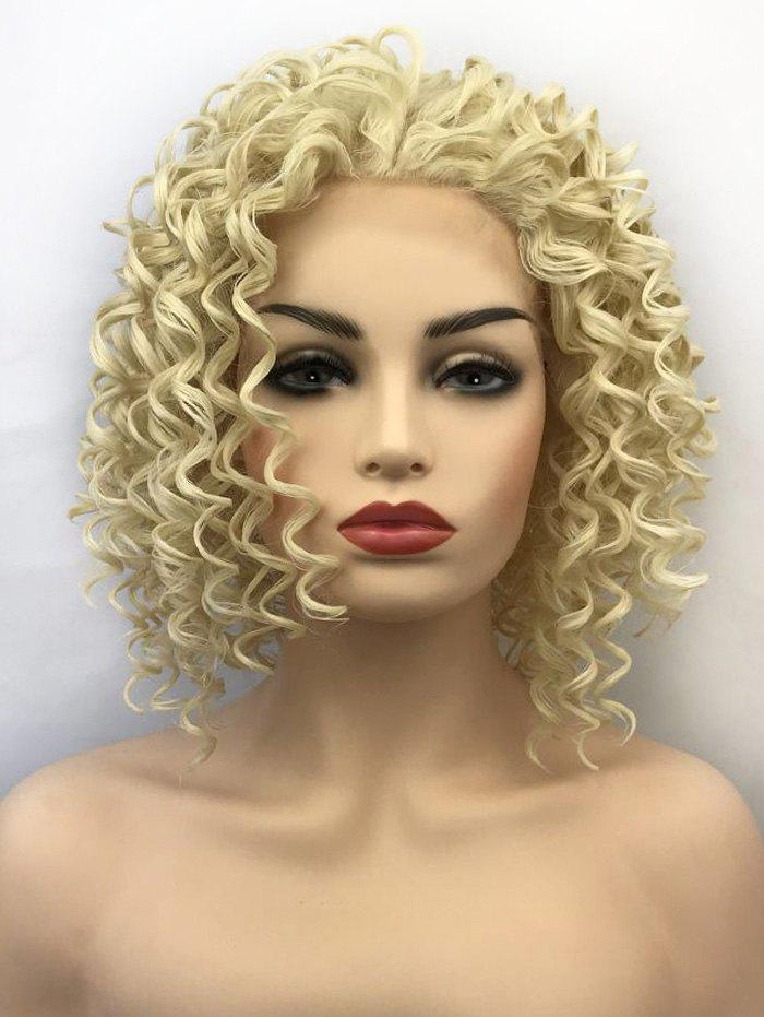Cheap Short Length Kinky Curly Lace Front Synthetic Wig