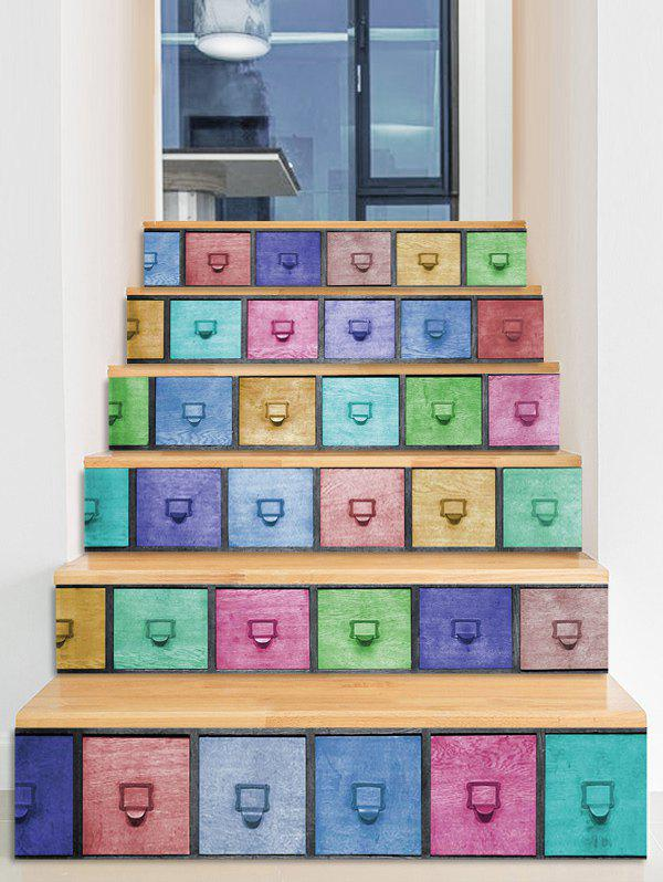 Shop Boxes Pattern 3D Stair Stickers