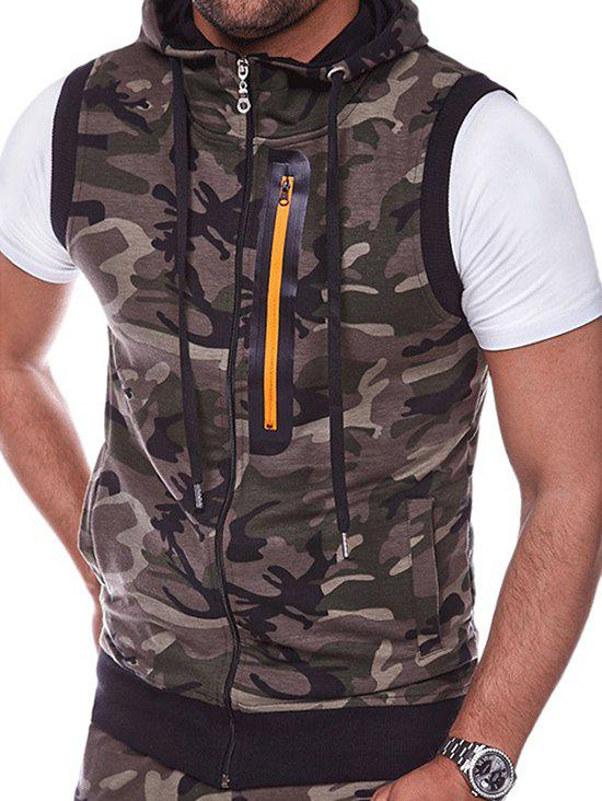 Zip Embellished Camouflage Hooded Vest