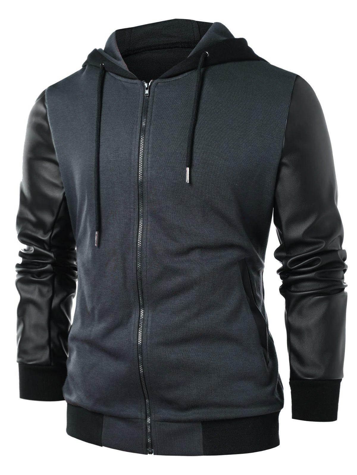 Best PU Leather Panel Zip Up Hoodie