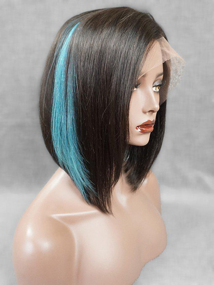 Store Short Side Fringe Highlight Straight Bob Human Hair Lace Front Wig