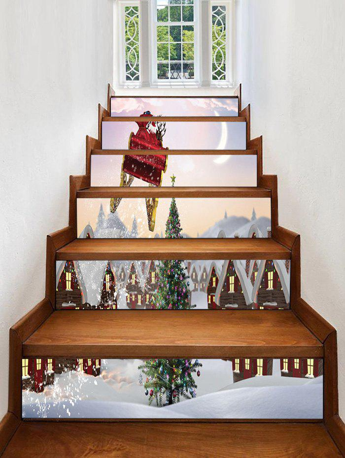 Hot Christmas Tree Printed Removable Stair Stickers