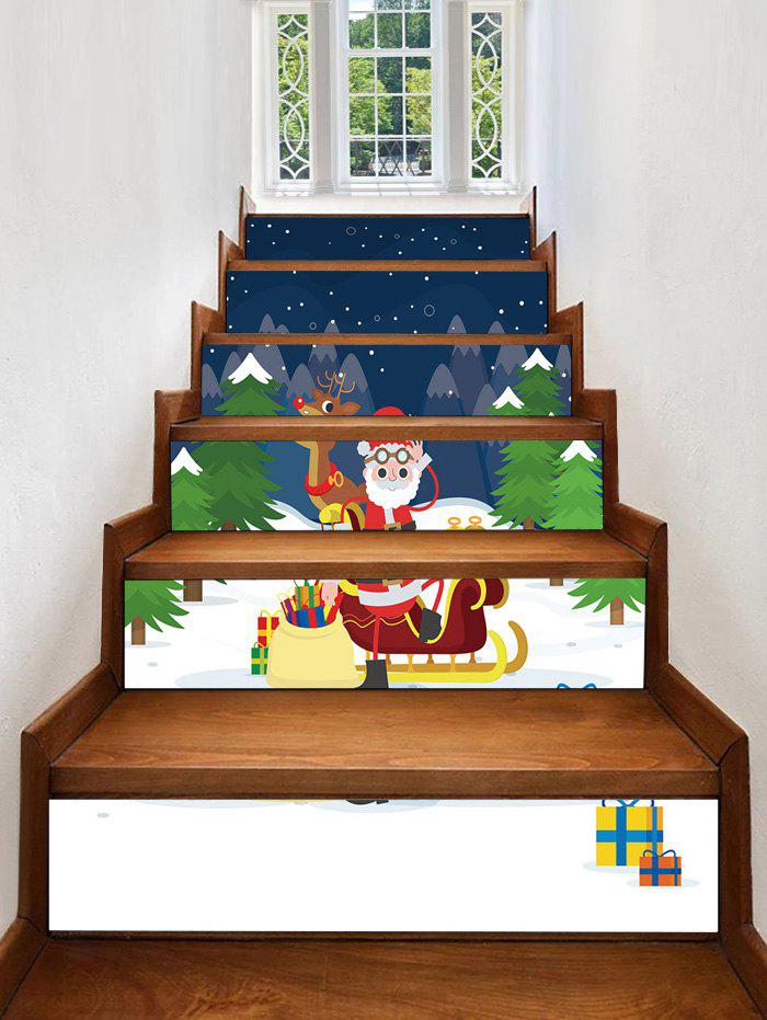 Latest Father Christmas Deer Gift Removable Stair Stickers