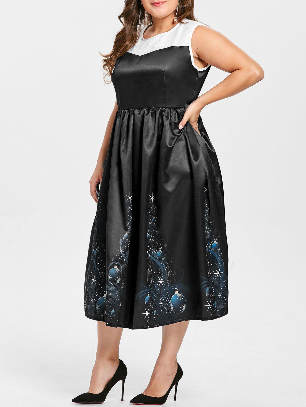 Buy Vintage Plus Size Midi  Christmas Gown Dress