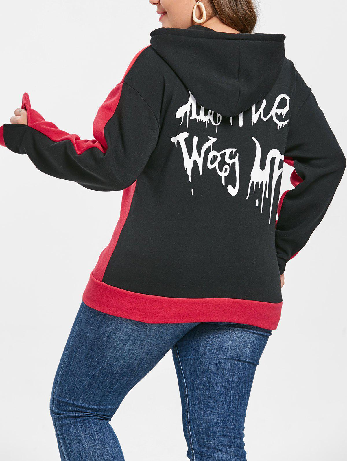 Fancy Plus Size Halloween Letters Print Hoodie