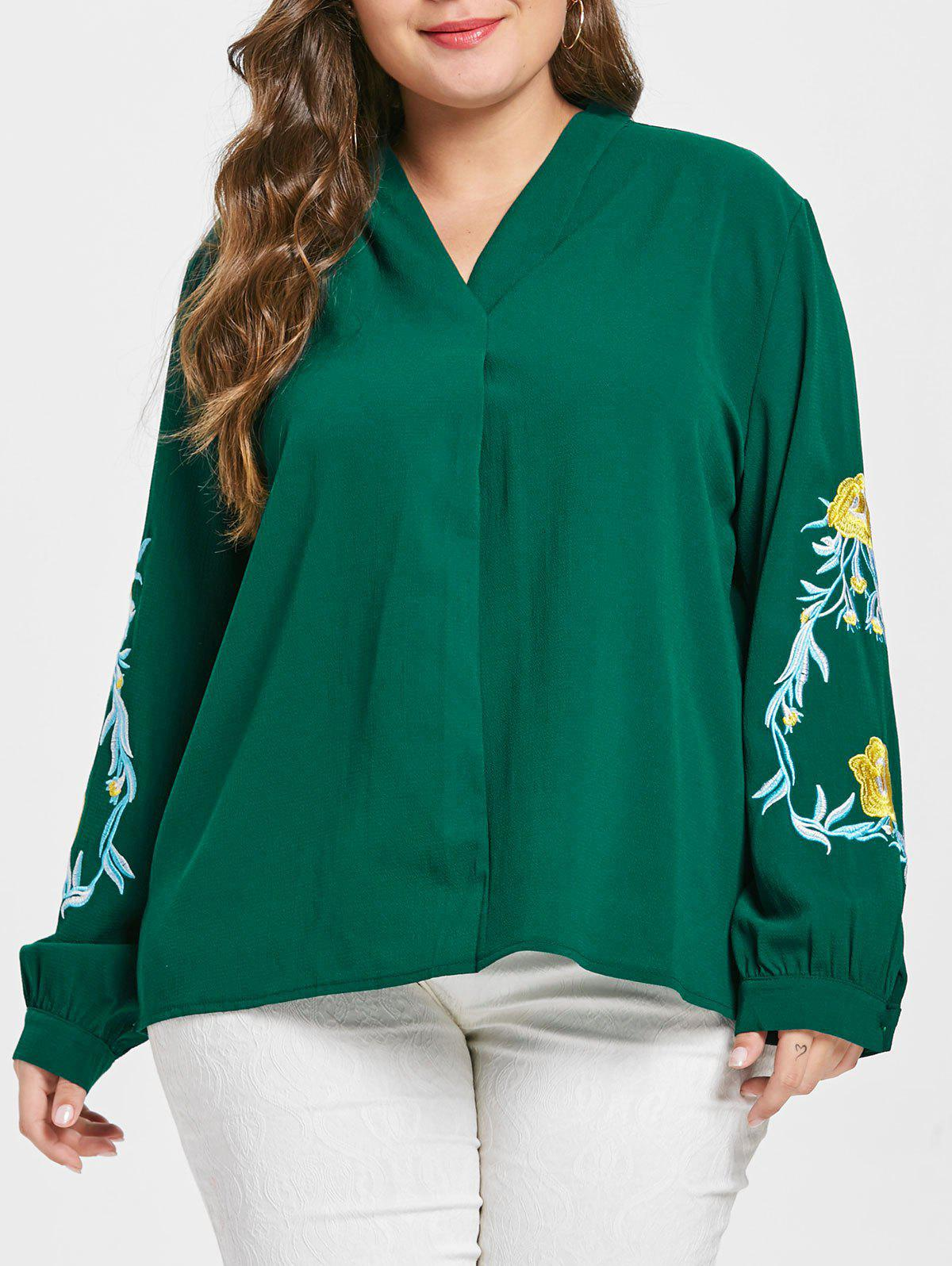 Outfits Plus Size Floral Embroidery Long Sleeve Blouse