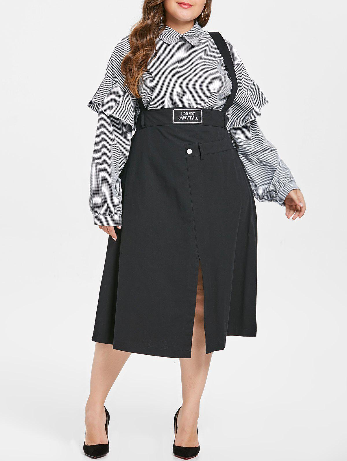 Chic Plus Size Front Slit Pinafore Skirt