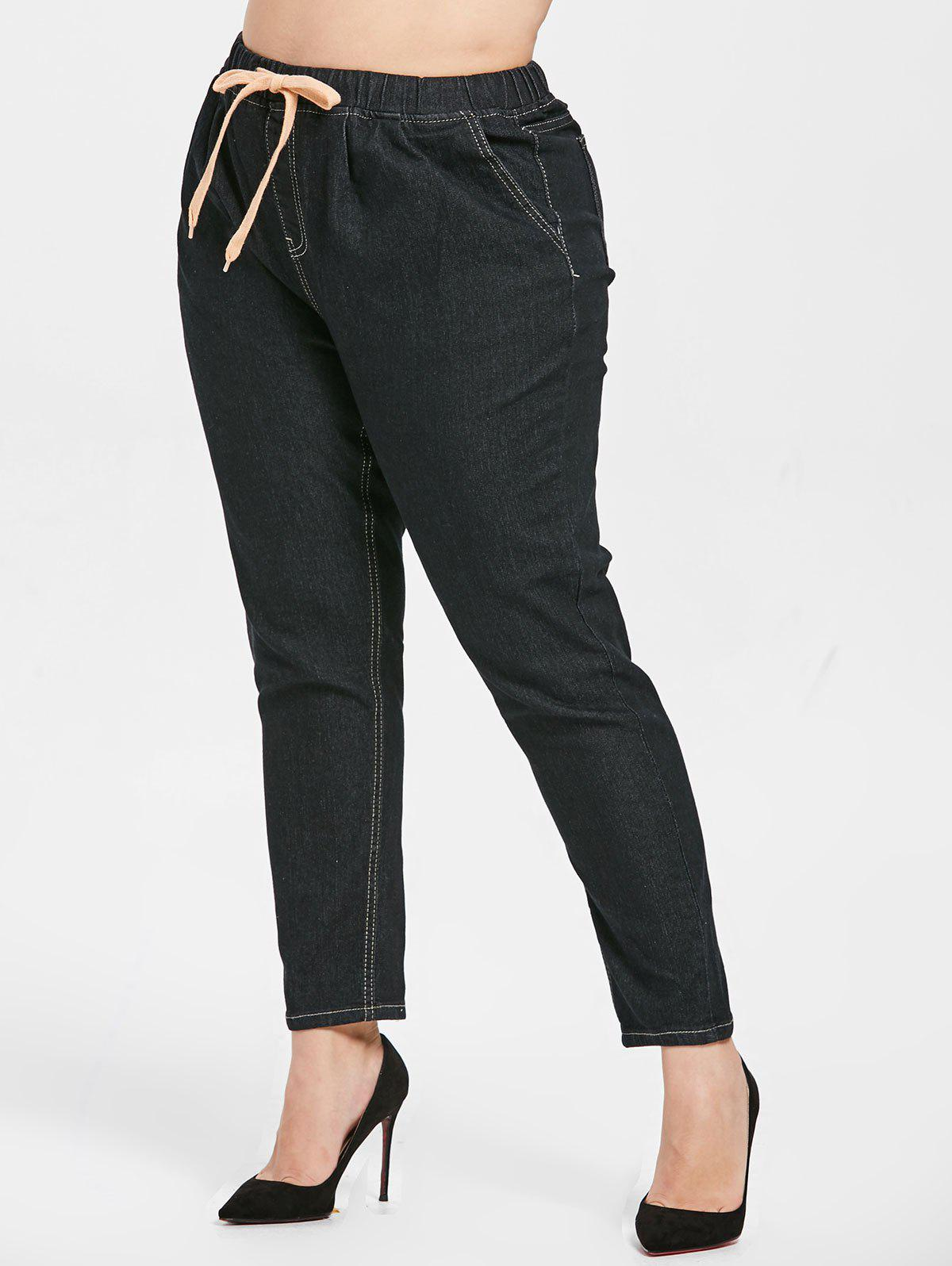 Cheap Plus Size Drawstring Waist Jeans