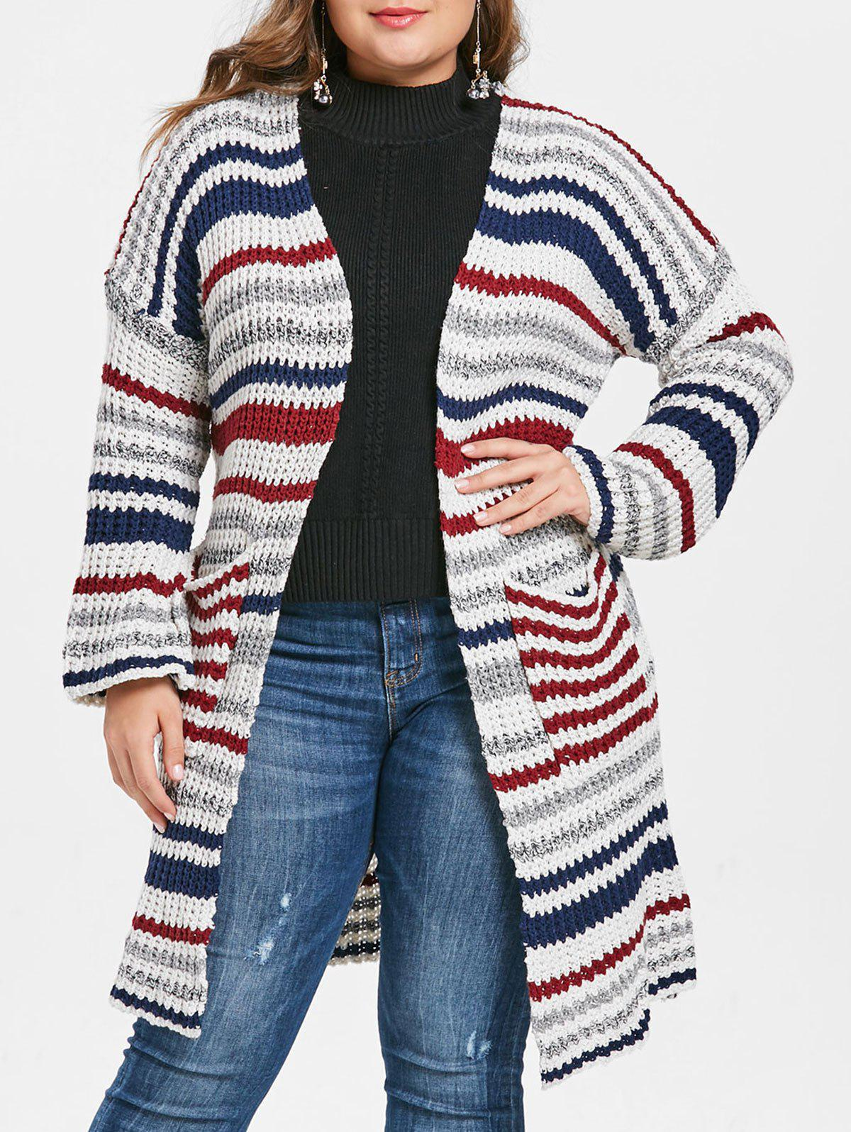 5876fd0b89 2019 Plus Size Striped Longline Cardigan With Open Front