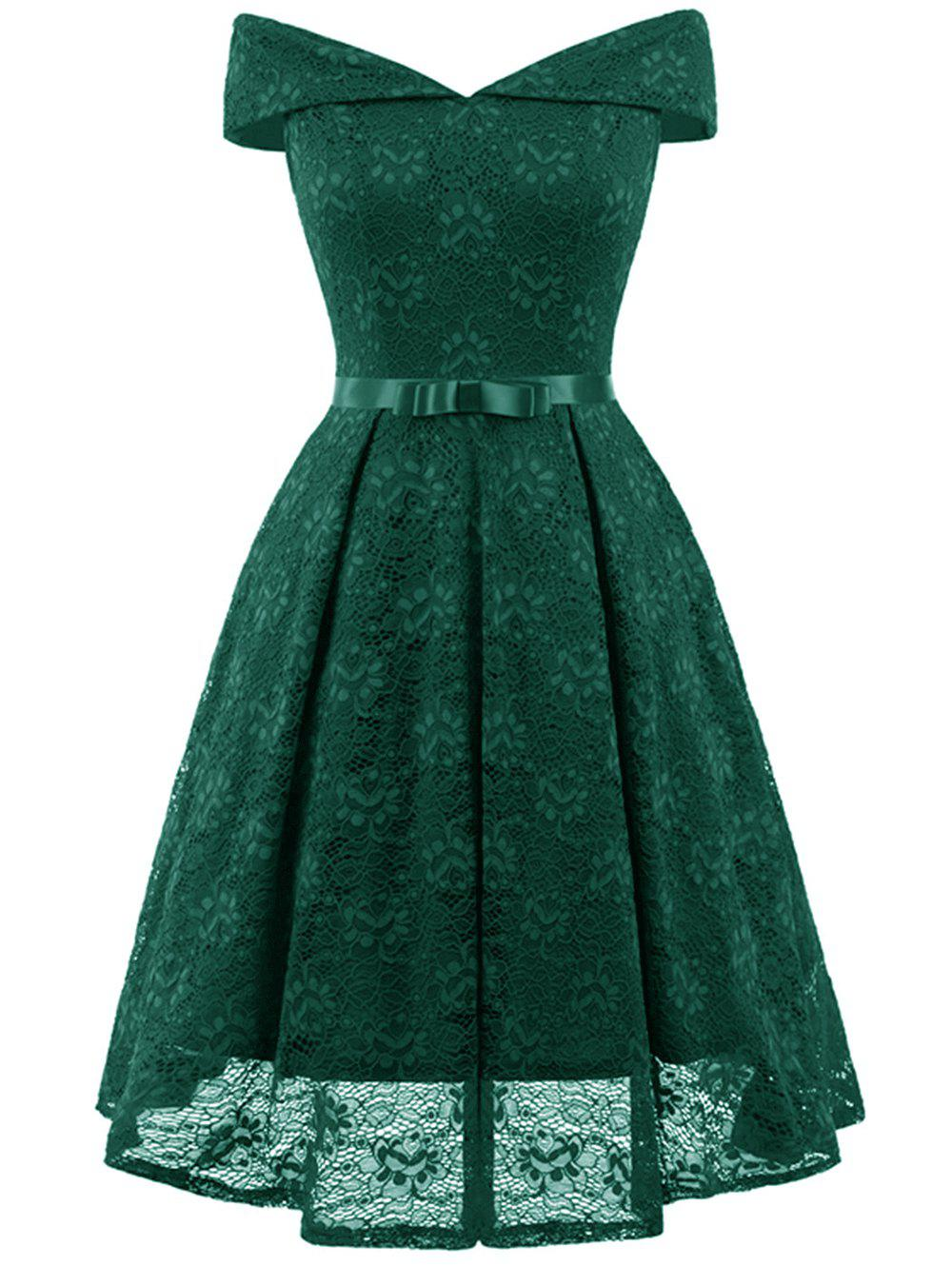 Online Belted Lace Cocktail Dress