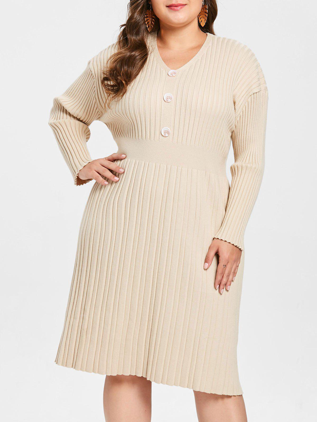 Plus Size Ribbed Sweater Dress with Buttons