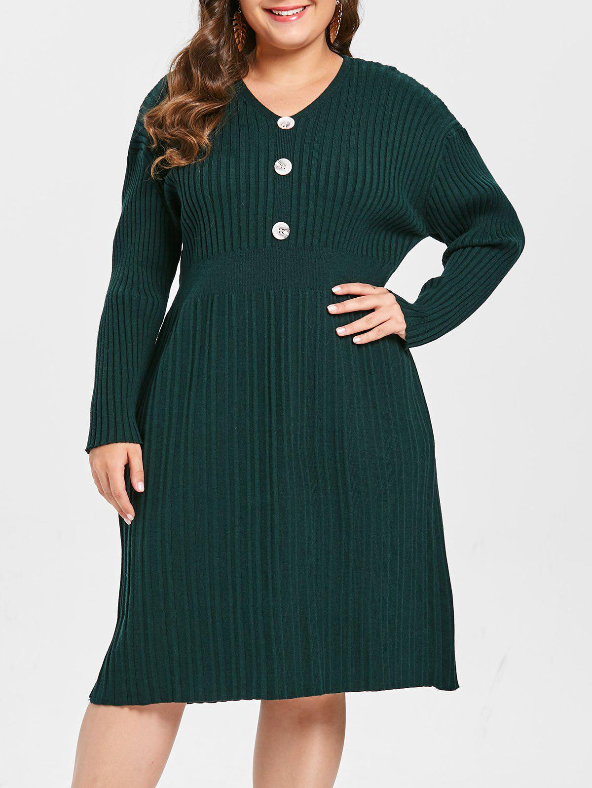 Trendy Plus Size Ribbed Sweater Dress with Buttons