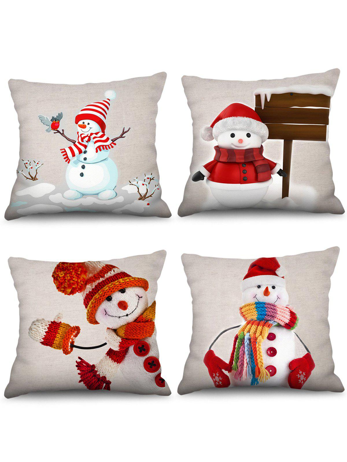 Affordable 4PCS Snowman Christmas Theme Printed Pillowcases