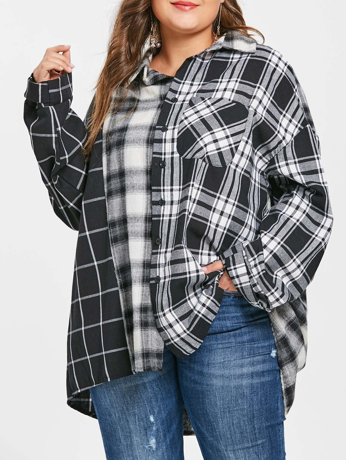 Trendy Plus Size Drop Shoulder Tartan Shirt