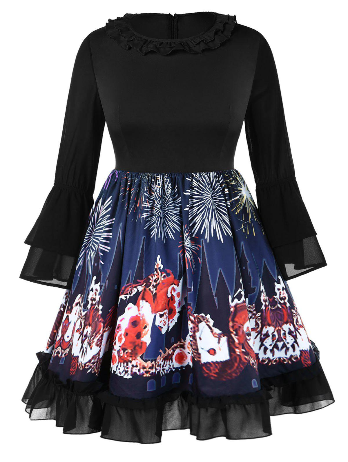 Chic Plus Size Bell Sleeves Graphic Knee Length Halloween Dress