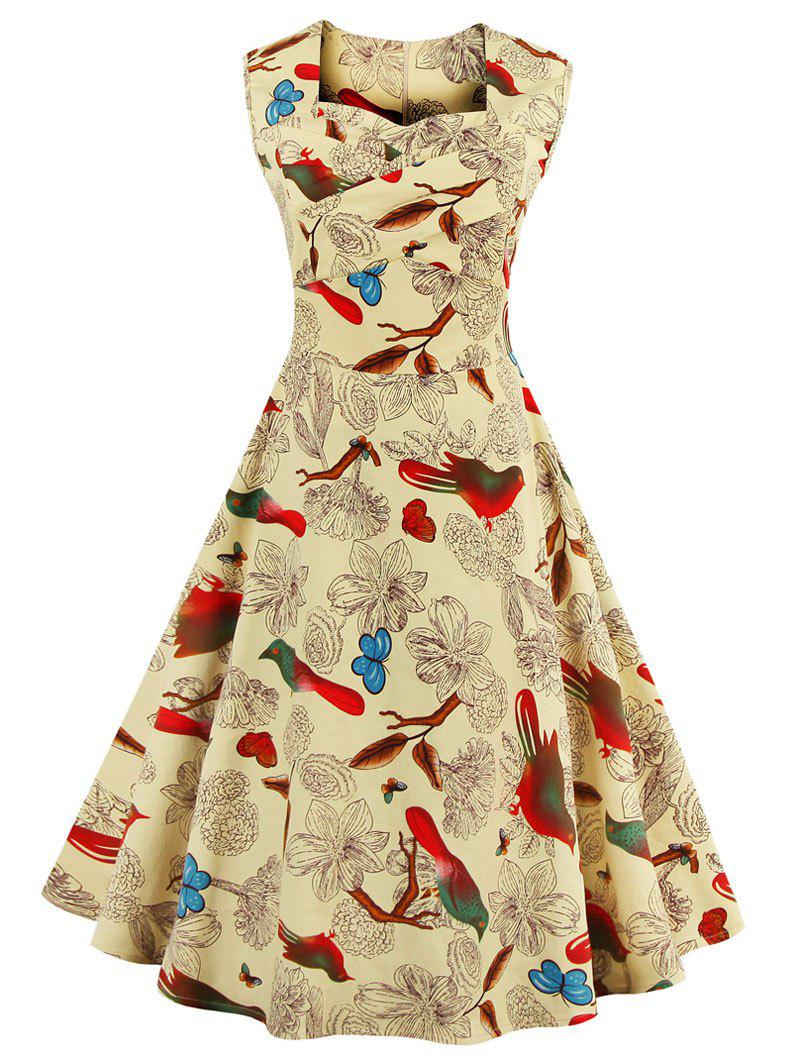 Outfit Birds and Floral Print Plus Size Sleeveless Vintage Dress
