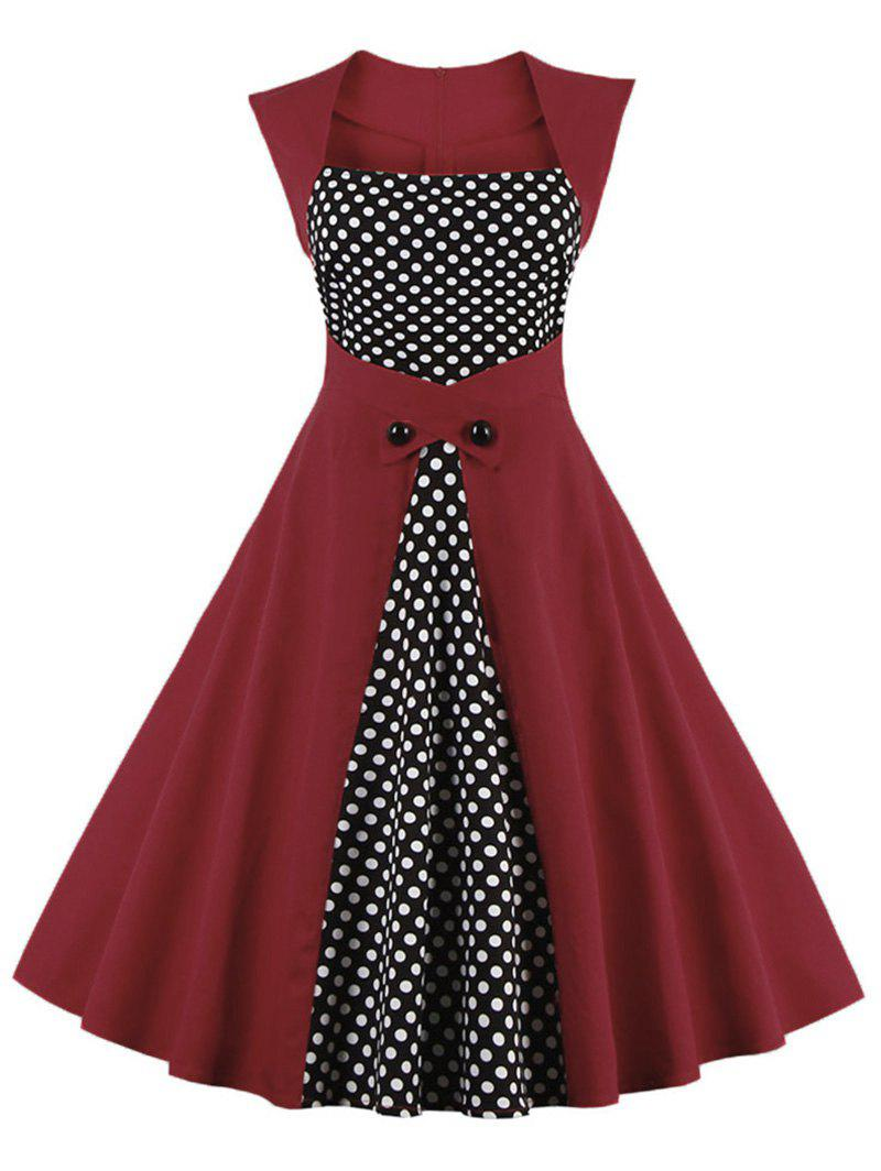 Trendy Square Neck Plus Size Polka Dot Panel A Line Dress