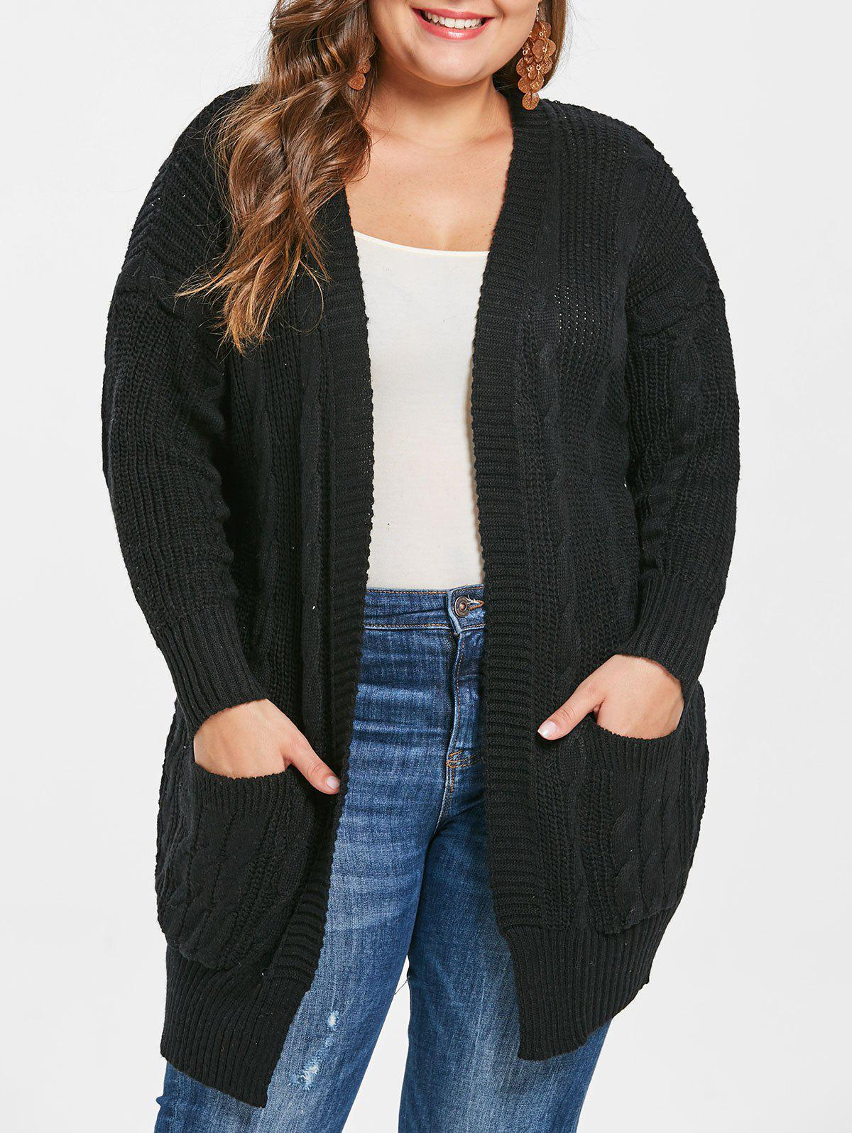 c469d9b2828174 61% OFF] Plus Size Cable Knit Cardigan With Open Front | Rosegal