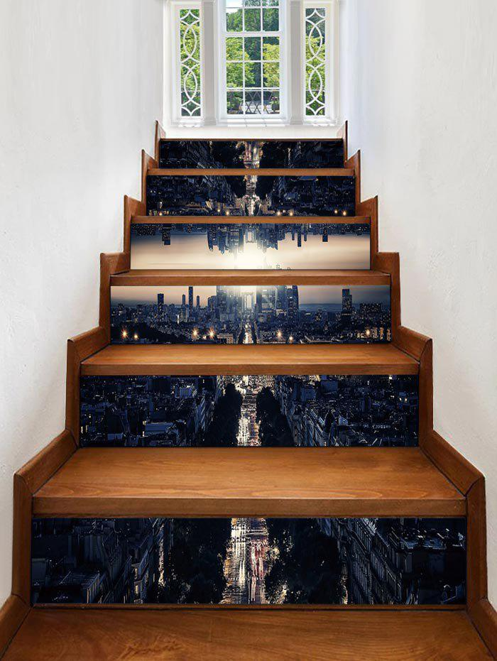 Trendy 3D City Printed Removable Stair Stickers
