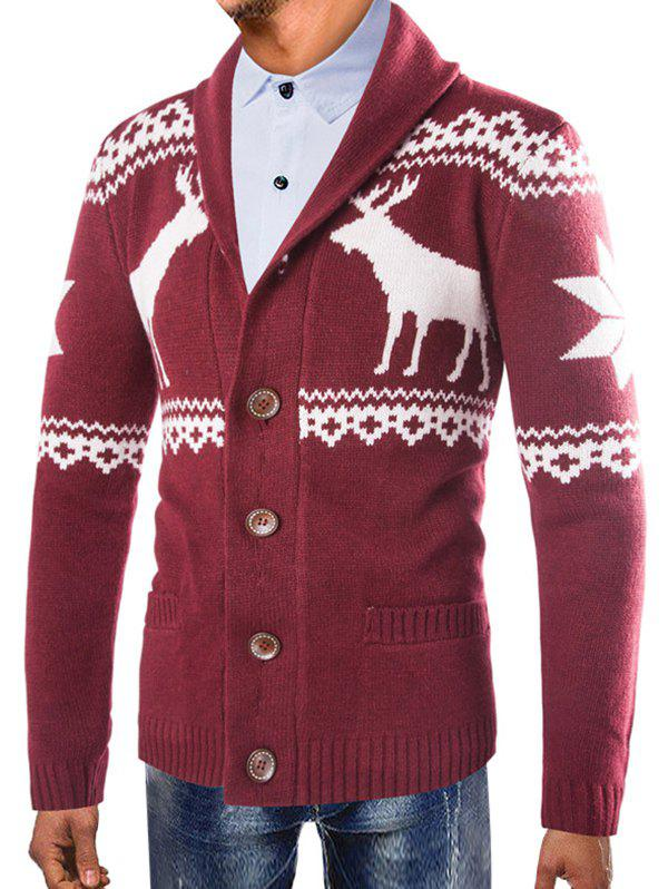Hot Christmas Deer Shawl Collar Button Up Cardigan