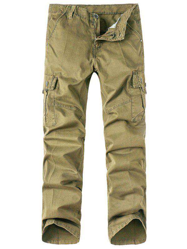 Sale Solid Zip Up Multi Pockets Cargo Pants