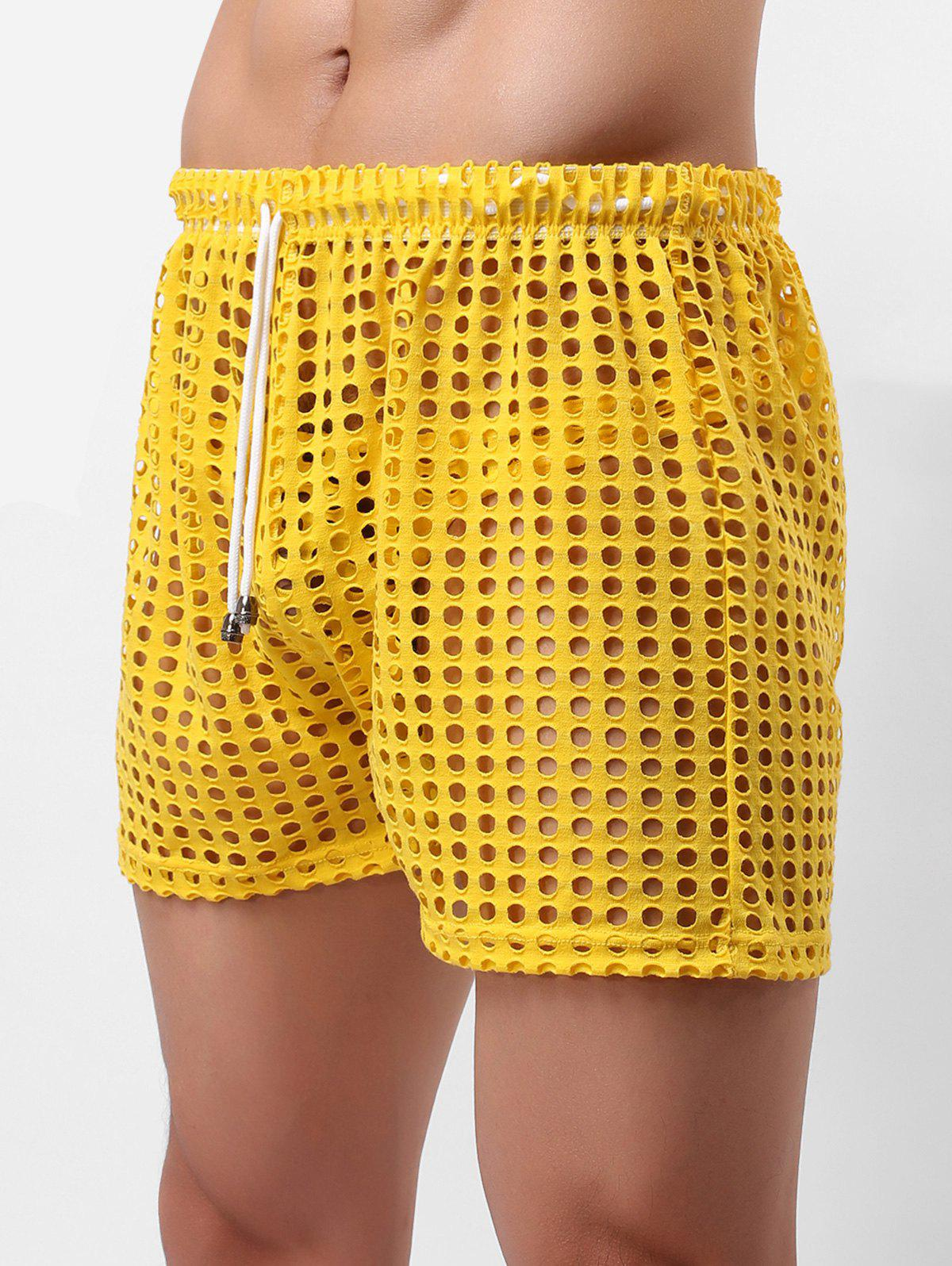 Hollow Out Drawstring Underwear Shorts, Bright yellow