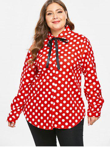 Plus Size Red Polka Dot Shirt - Free Shipping, Discount And Cheap ...
