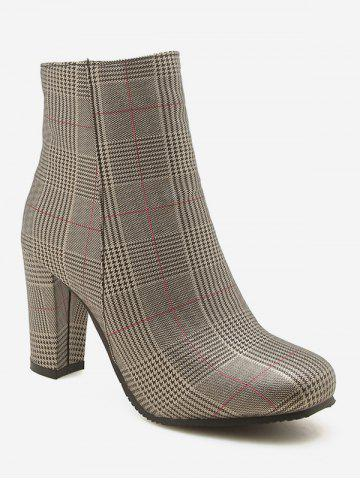 Plus Size Chunky Heels Plaid Pattern Ankle Boots