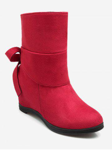 Plus Size Bowknot Hidden Wedge Ankle Boots
