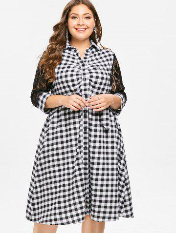 Plus Size Plaid Shirt Dress with Lace Insert