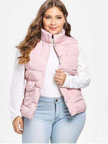 Plus Size Stand Collar Pockets Padded Waistcoat
