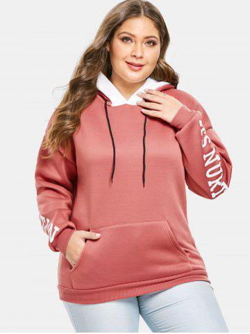 Plus Size Pullover Letters Hoodie with Pocket