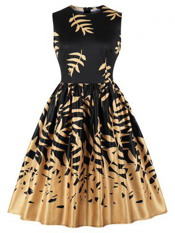 Vintage Leaves Print Fit and Flare Dress