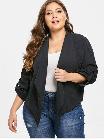 53ca9304504 Plus Size Solid Color Open Front Jacket
