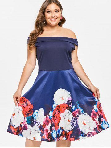 Plus Size Off The Shoulder Floral Print Pin Up Dress