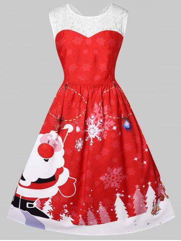Christmas Plus Size Santa Claus Print Pin Up Dress