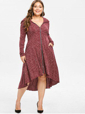 Plus Size Zip Front Hooded Long Sleeve High Low Dress