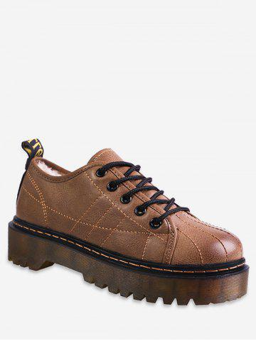 Sewing Lace Up Platform Sneakers