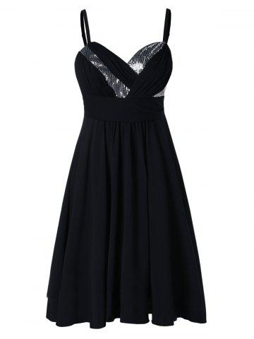 Spaghetti Strap Plus Size Sequin Embellished Line Dress - 2x BLACK