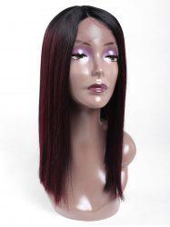 Medium Center Parting Blunt Lob Straight Lace Front Synthetic Wig -