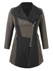 Plus Size Two Tone Woollen Coat -