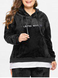 Plus Size Two Tone Embroidered Velvet Hoodie -